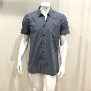 Prada Men's Black Mini Checkered Button Shirt